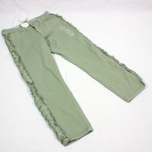 NWT Gymboree Girl's Skinny Ruffle army green Jeans